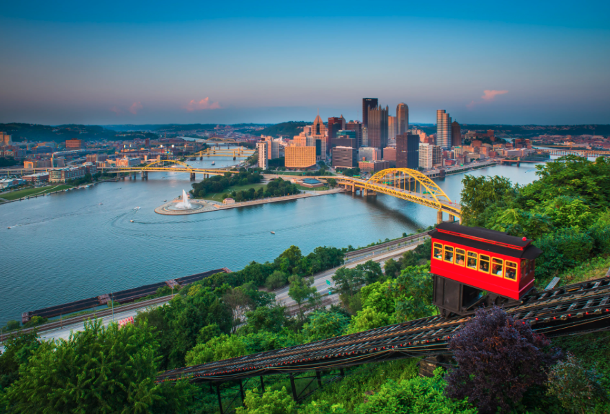 view of downtown pittsburgh from mt. washington incline