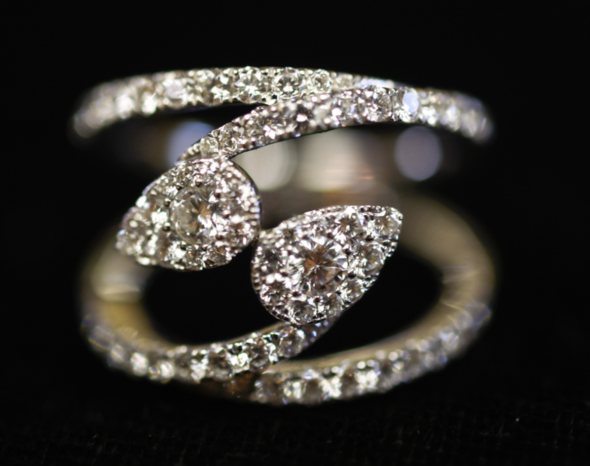 diamond engagement ring featuring two large stones