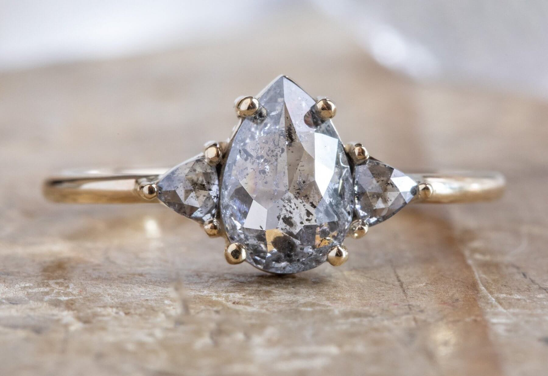 salt and pepper engagement ring