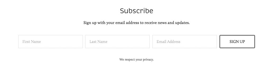 Email Signup form on Squarespace.
