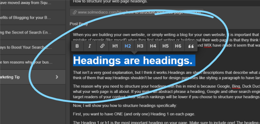How to structure your web page headings.