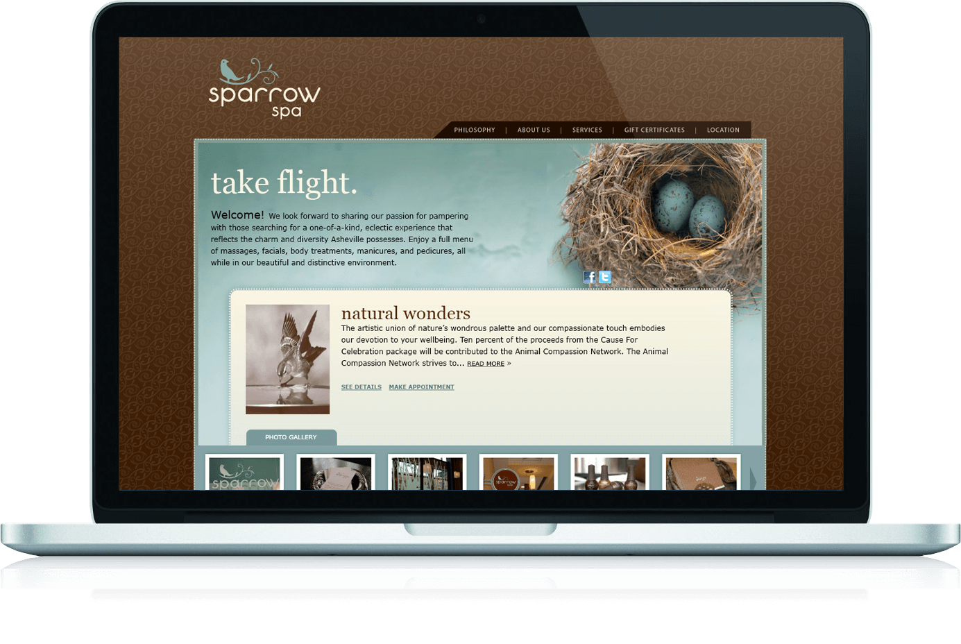 Sparrow Spa website homepage features a nest with sparrow eggs.