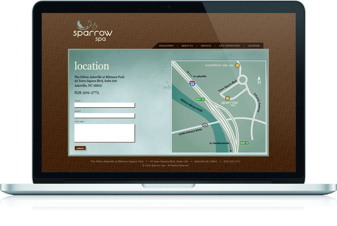 Sparrow Spa website contact page with custom illustrated map and contact form.