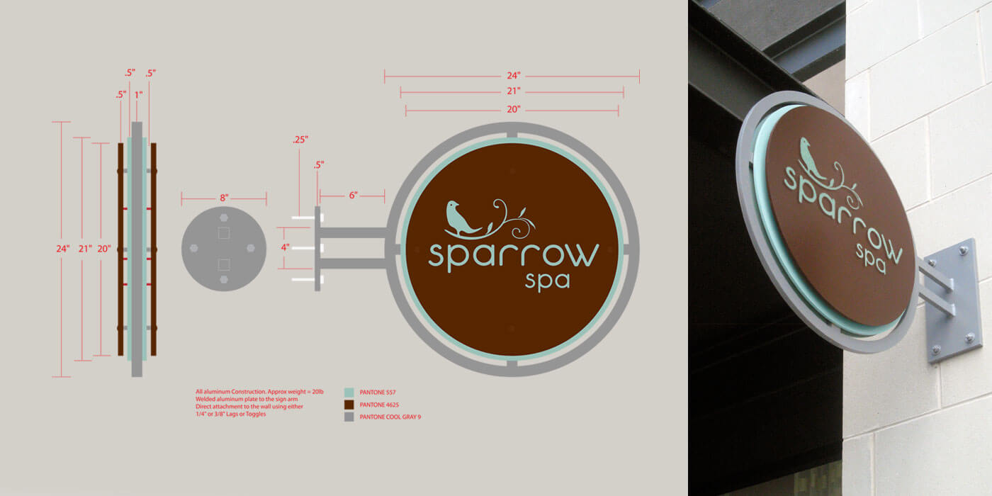 Technical rendering and photo of sign for Sparrow Spa. Circular sign with brown panel and robins eggs blue logo knocked out.