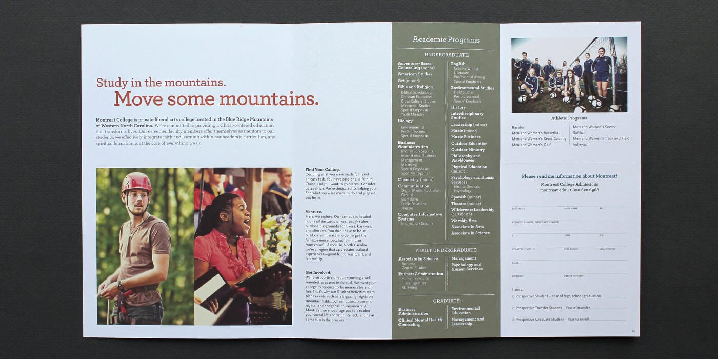 Montreat College direct mail recruitment piece unfolded. Lists academic and athletic programs.