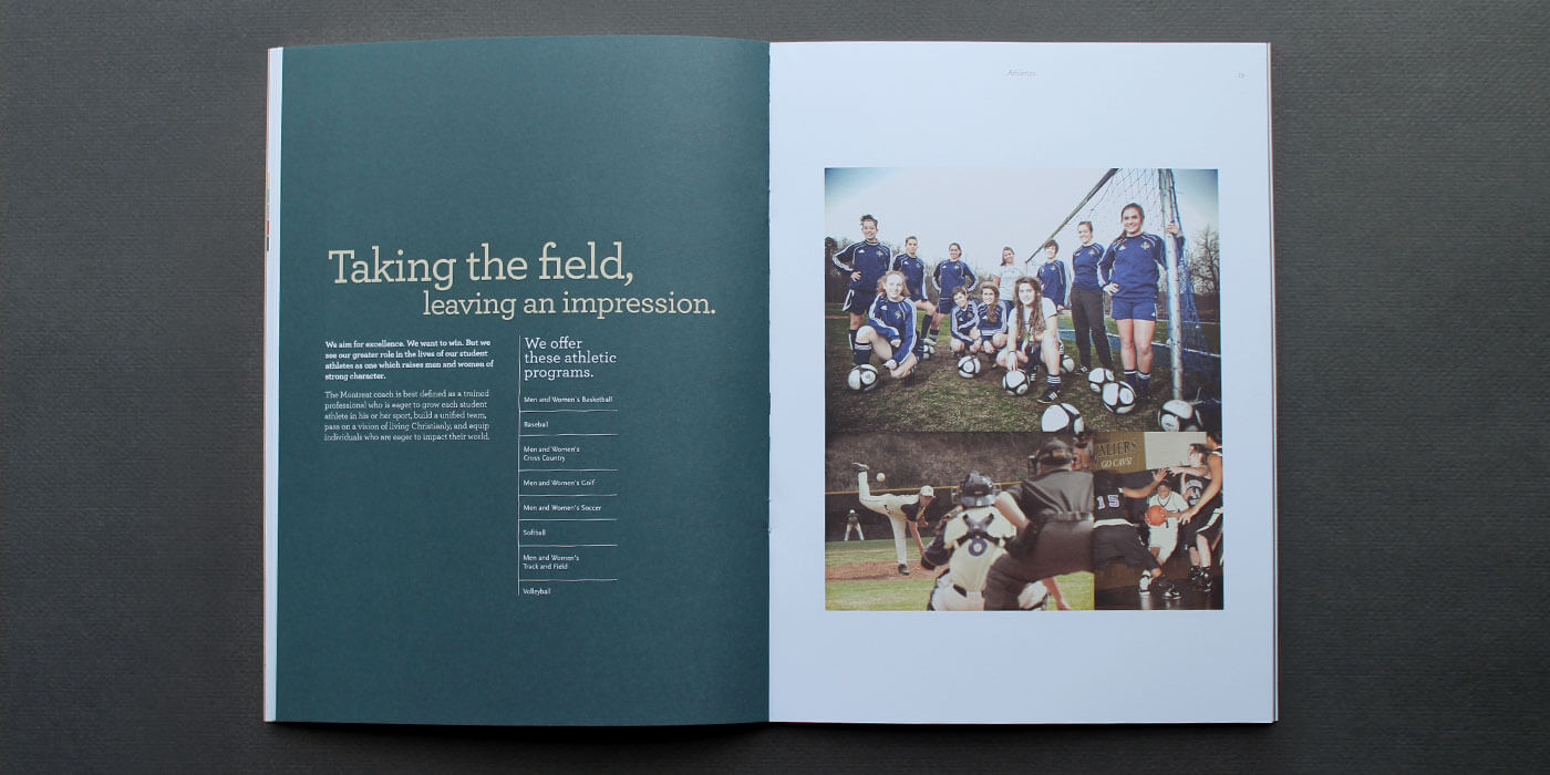 Montreat College viewbook catalog spread with list of athletic programs available at the school.
