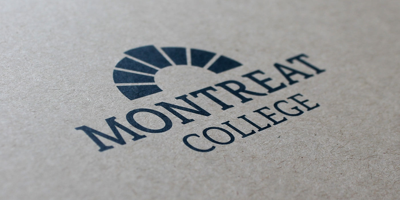 Montreat College viewbook/catalog cover detail showing the logo centered on a Kraft paper background.
