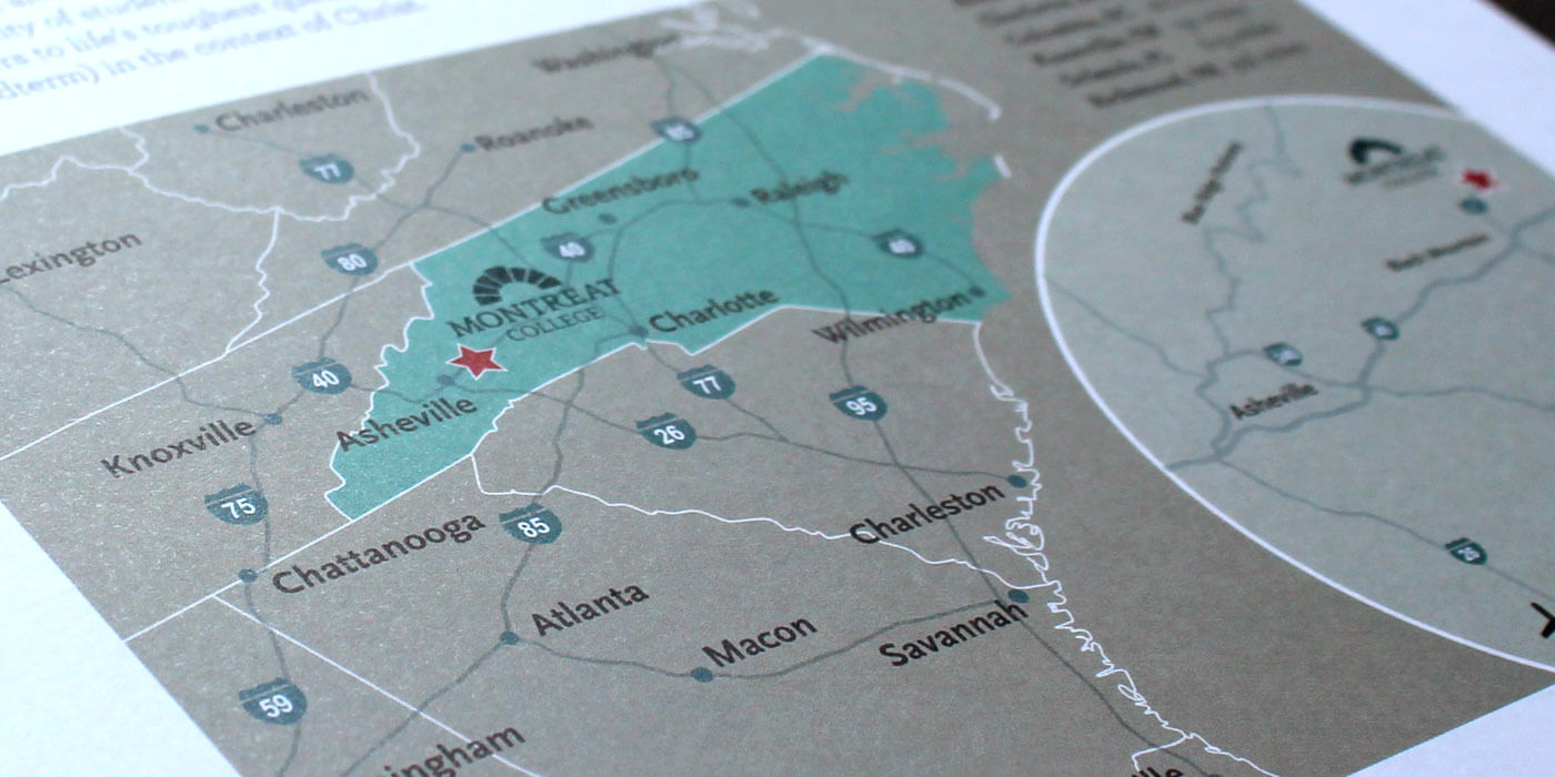 Montreat College viewbook catalog showing detail of map illustration, providing distances to major South East cities.