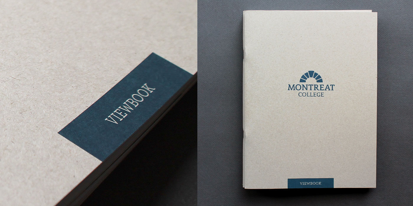 Montreat College Viewbook catalog cover in Kraft paper and logo centered in blue. Detail of title on left.