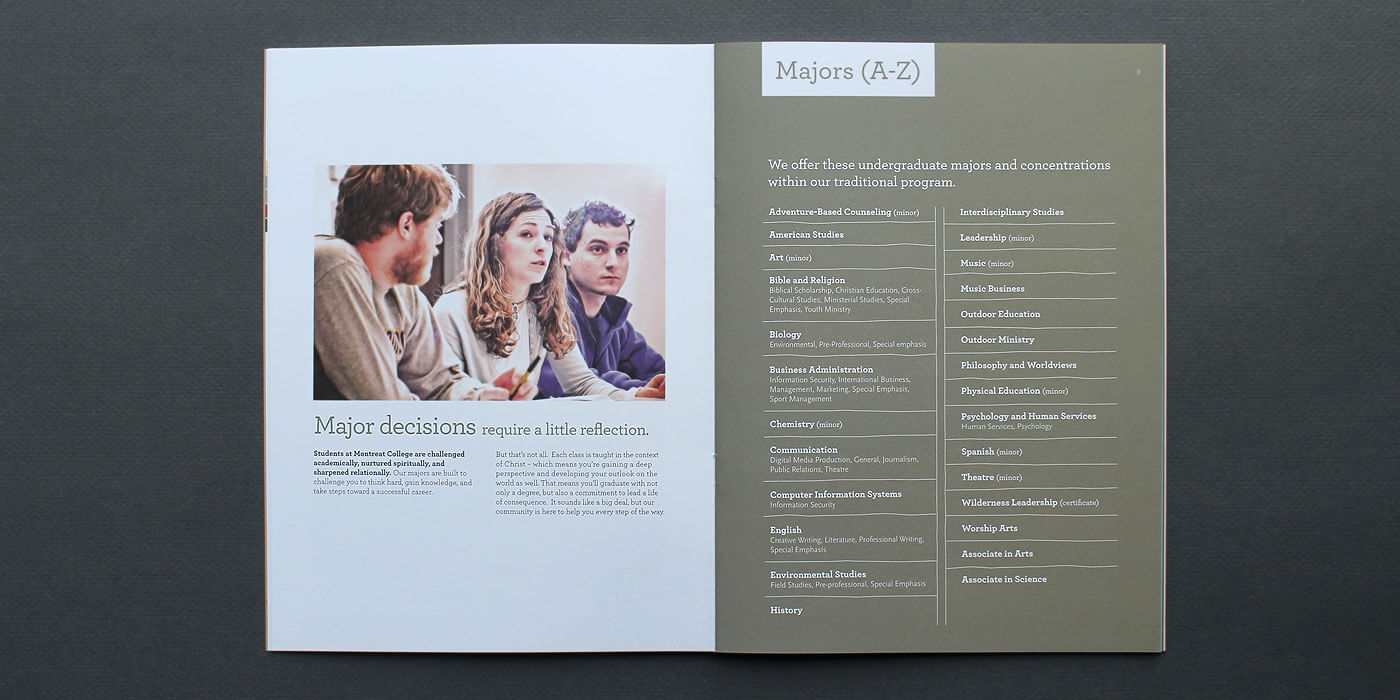 Montreat College viewbook catalog spread with students in conversation on left and a list of majors on the right in white text on an earthy green background.