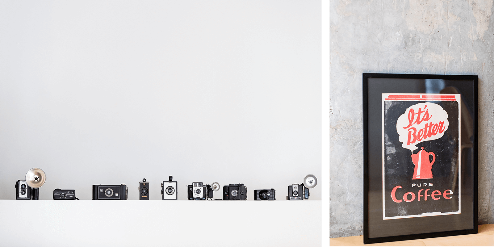 Vintage cameras line up against a white wall at 828:design studio. Split with a framed illustration print of a coffee percolator from Yee Haw Print Shop.