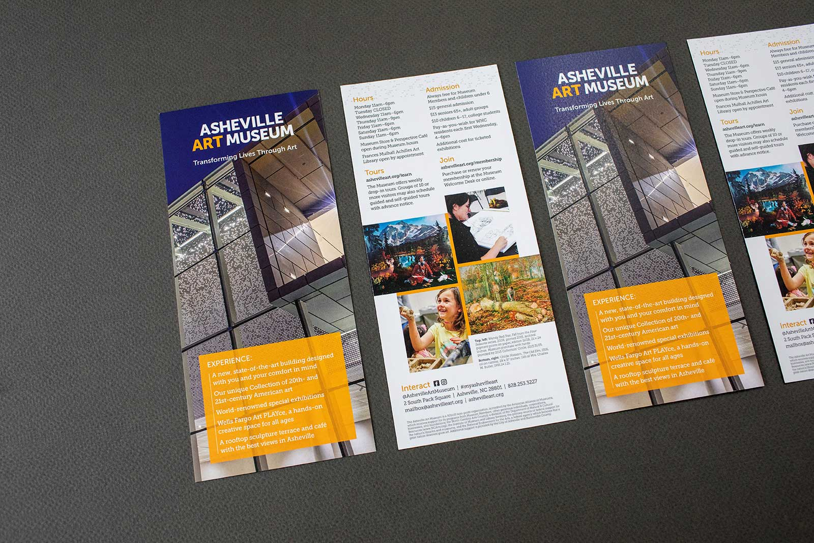 Rack card for Asheville Art Museum with tightly cropped image of the building oculus against a deep blue sky. Images of patrons at the museum.