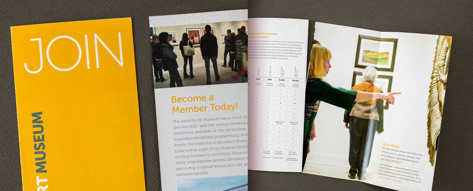 Detail cropped view of New Membership brochure for the Asheville Art Museum shows visitors viewing artworks and lists benefits of becoming a member.