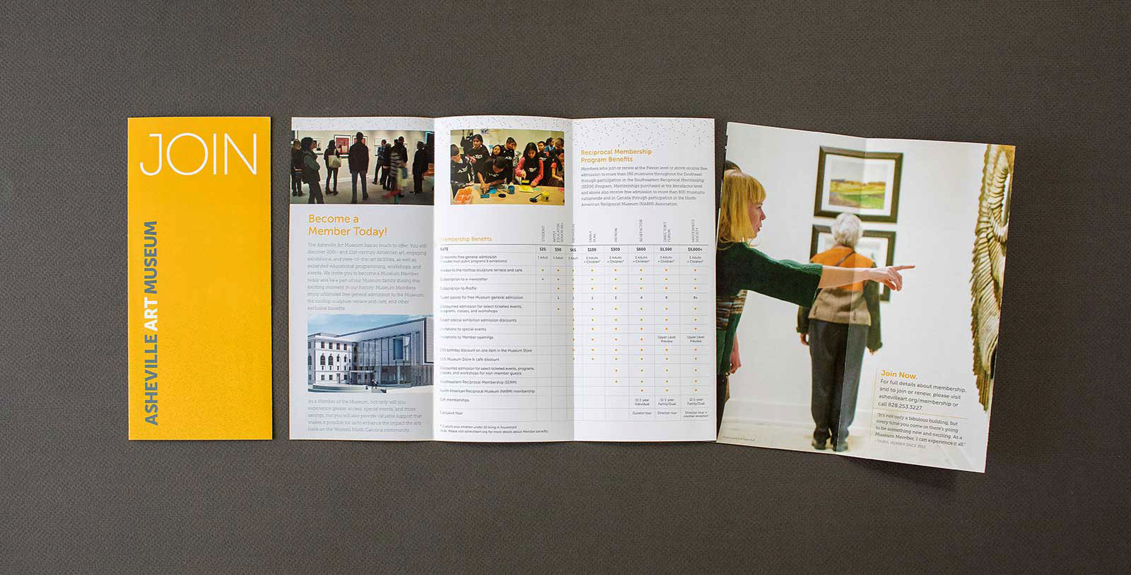 New Membership brochure for the Asheville Art Museum shows visitors viewing artworks and lists benefits of becoming a member.