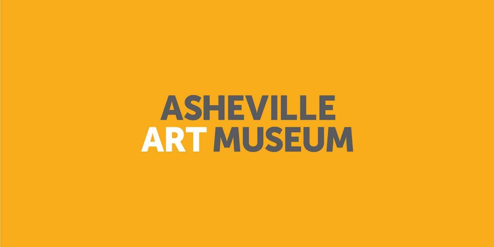 Asheville Art Museum logo in gray and white, centered on a gold background.