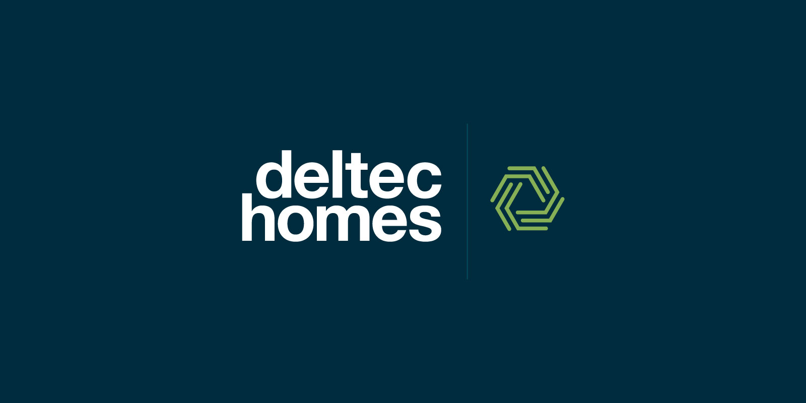 Deltec Homes logo in white and green, centered against a blue background.