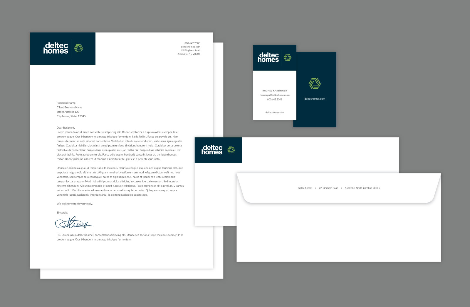 Deltec Homes stationery arranged against gray background. Includes Letterhead, business card, and envelope.