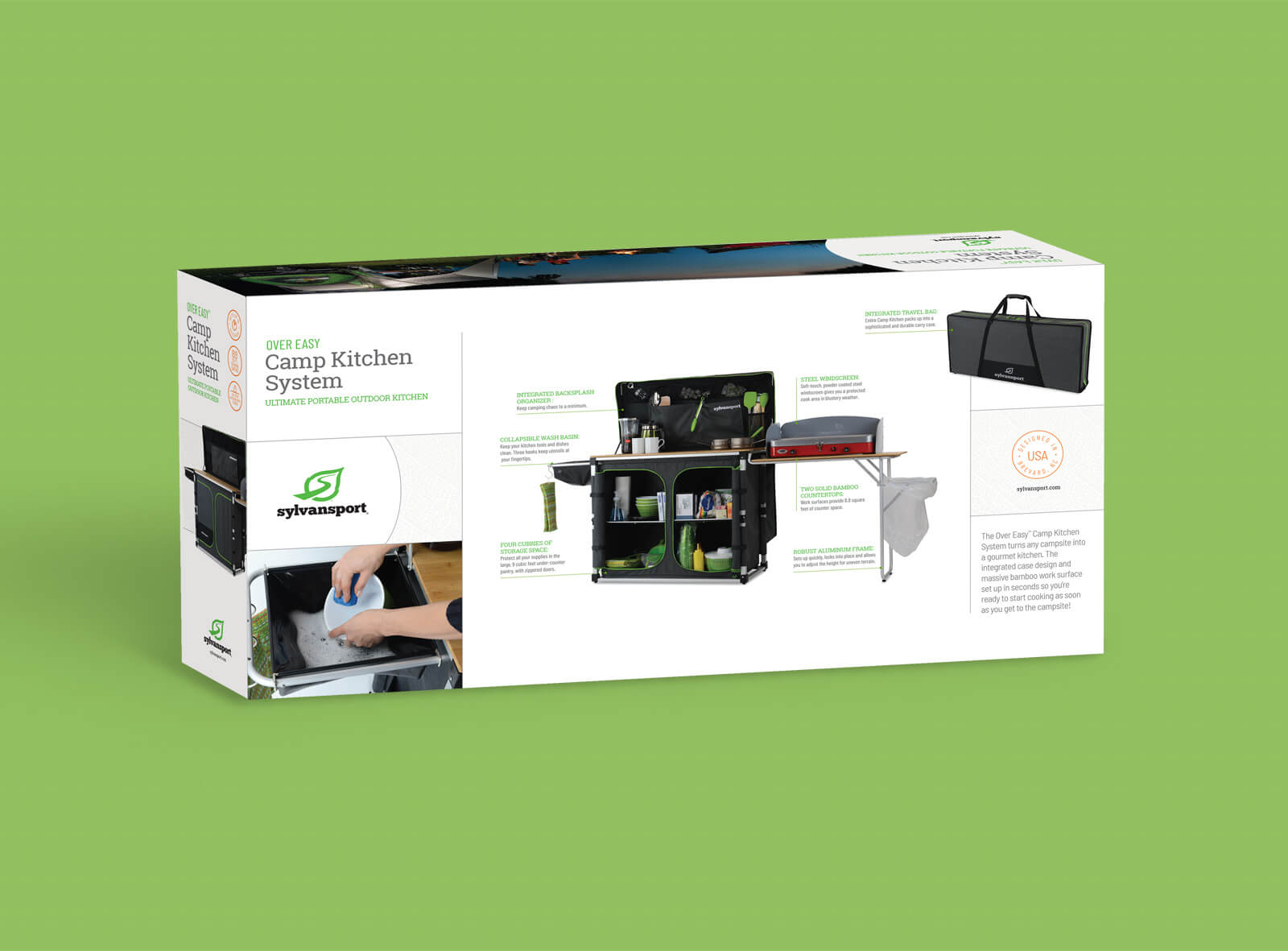 The back of Sylvan Sport packaging box for Camp Kitchen System against green background shows features and technical drawing of the product and lifestyle imagery of the kitchen in use.