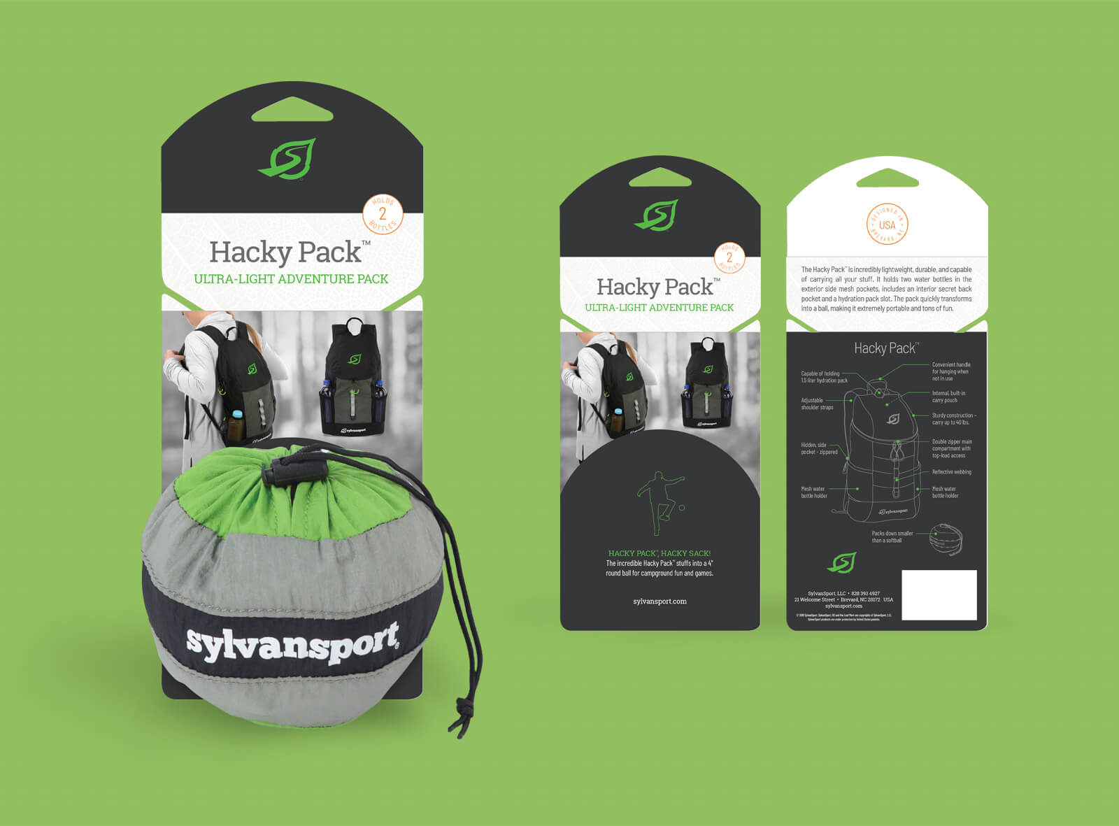 Sylvan Sport packaging box for Hacky Pack backpack, against green background. Shows features and technical drawing of product.