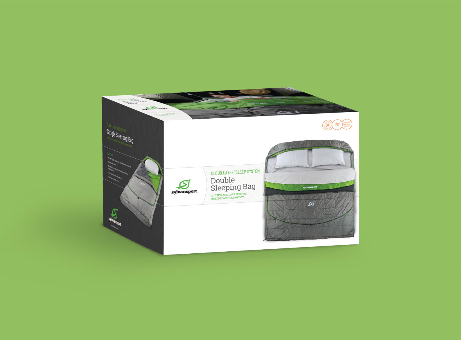 Sylvan Sport packaging box for Double Sleeping Bag system. Shown against a green background. Includes images of the product in use.