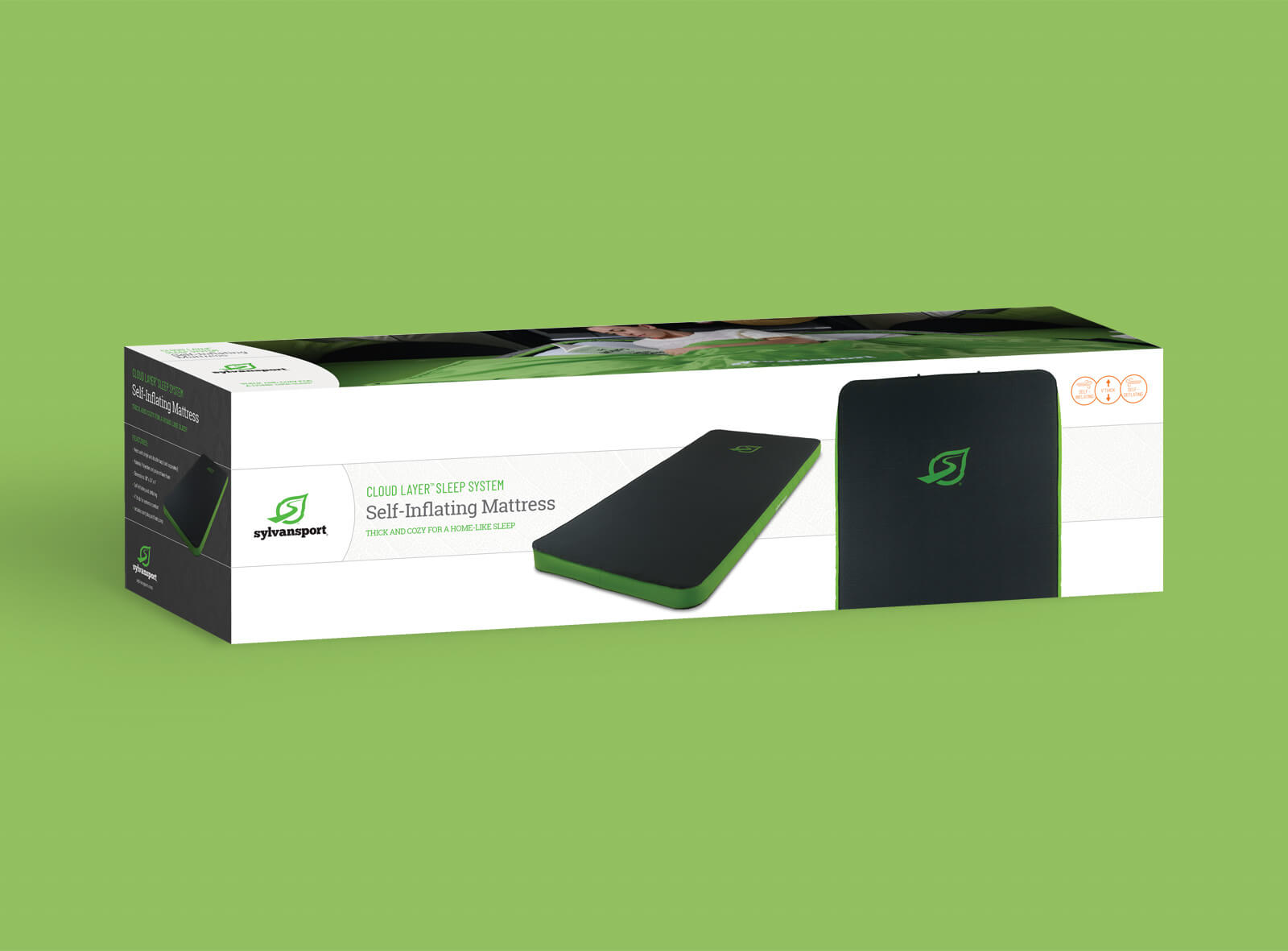 Sylvan Sport packaging box for Self-inflating Mattress against green background shows features and technical drawing of the product.