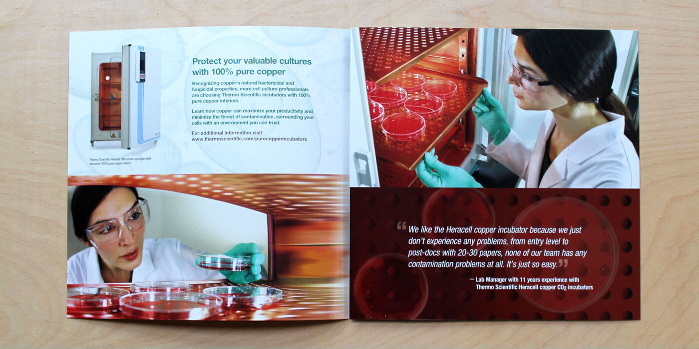 Thermo Fisher Scientific brochure cover for a copper incubator. Images shows female scientist placing samples in incubator.