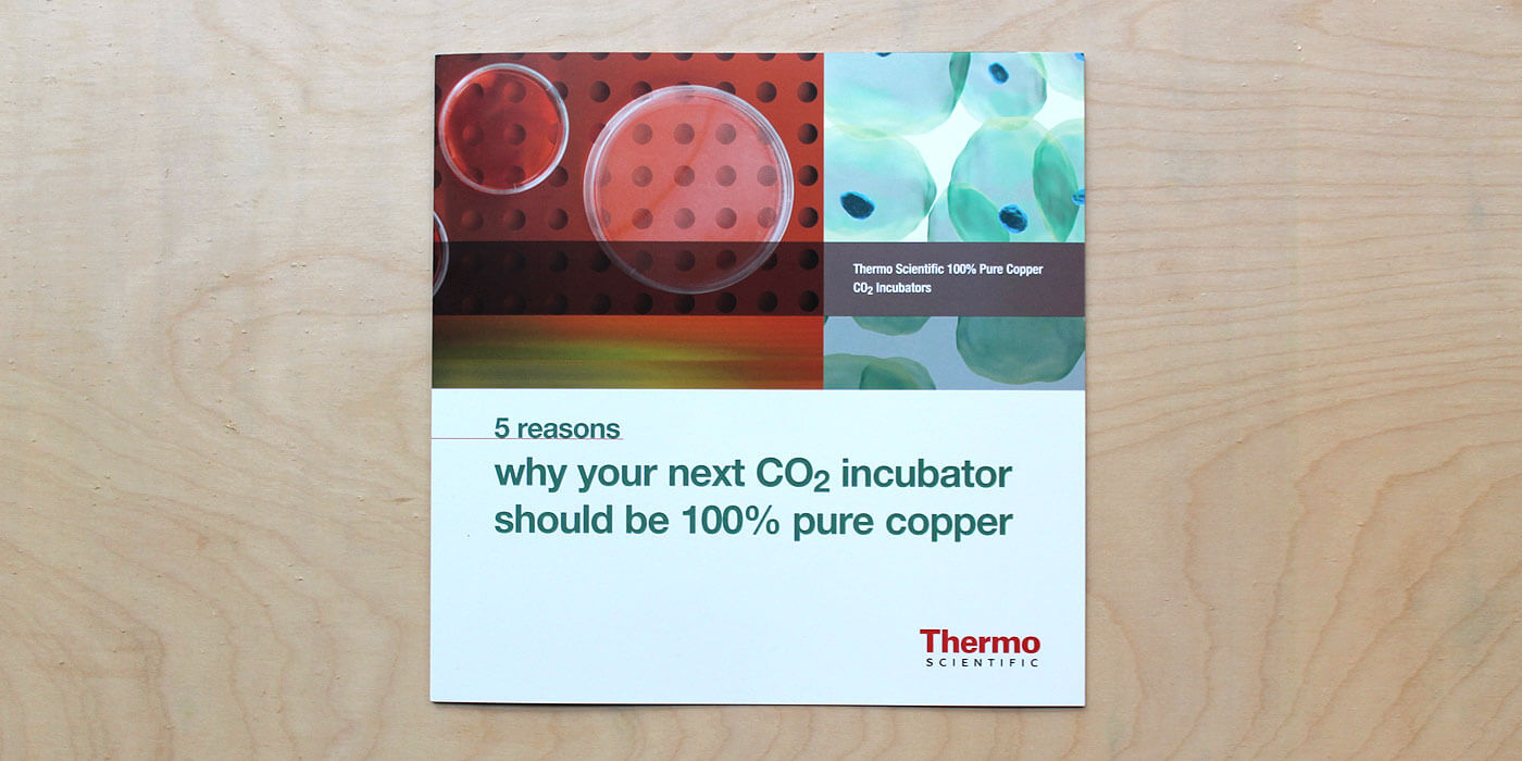 Thermo Fisher Scientific brochure cover for a copper incubator. Images shows petri dish and microscopic bacteria.