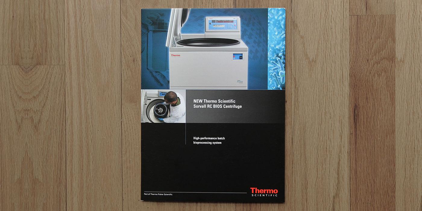 Thermo Fisher Scientific brochure cover for BIOS centrifuge.