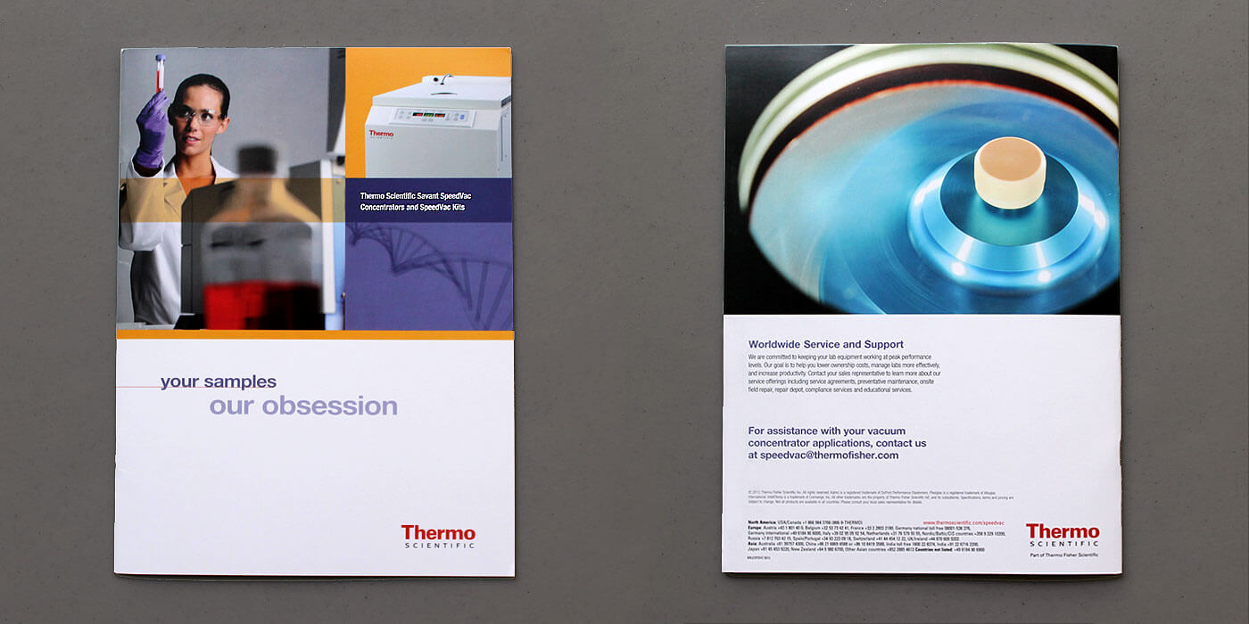 Thermo Fisher Scientific brochure cover and back cover for SpeedVac centrifuge kit. Woman scientist inspects test tube sample.