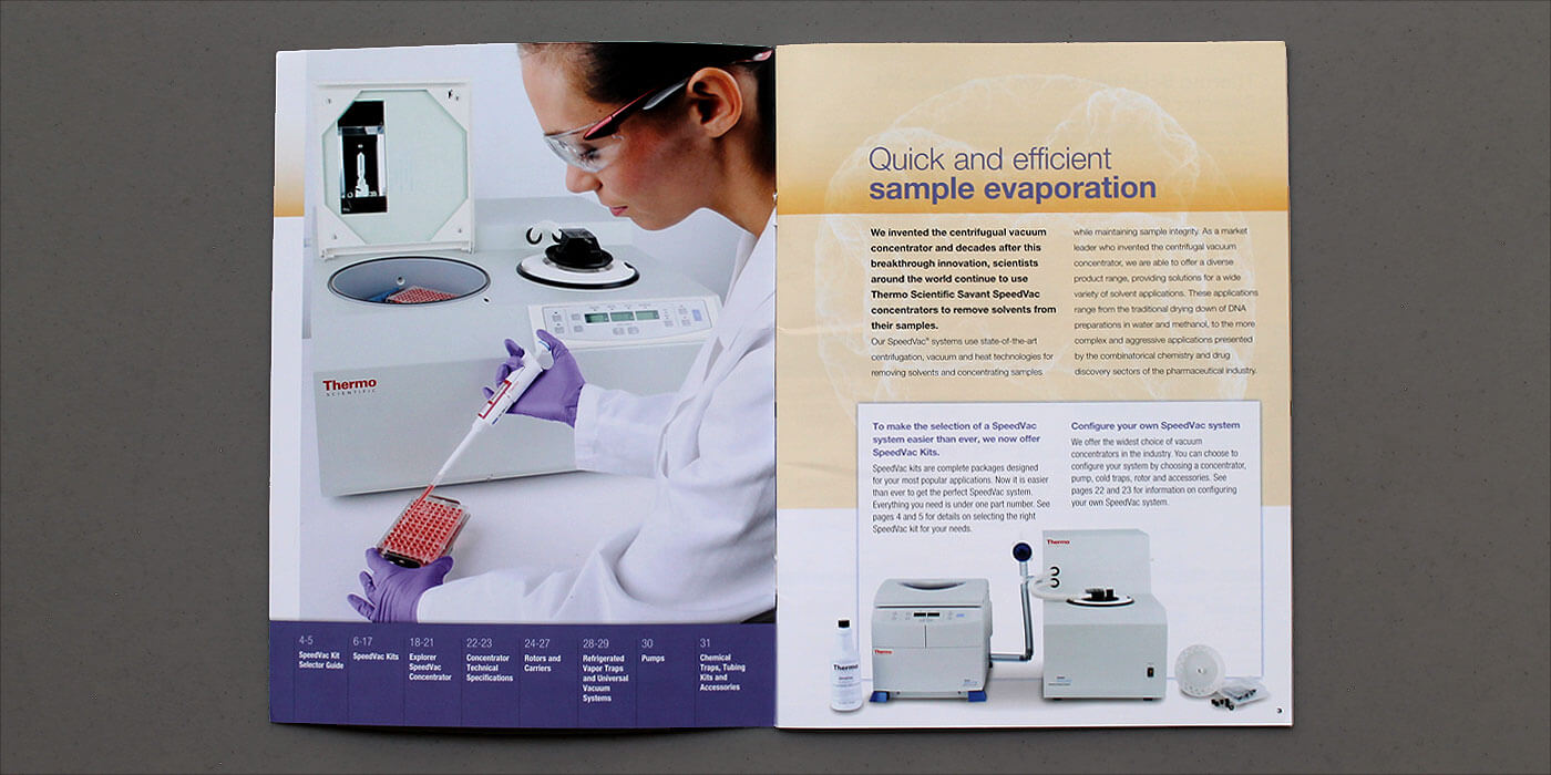 Thermo Fisher Scientific brochure spread SpeedVac centrifuge. Images show female scientist with pipette and samples for centrifuge.
