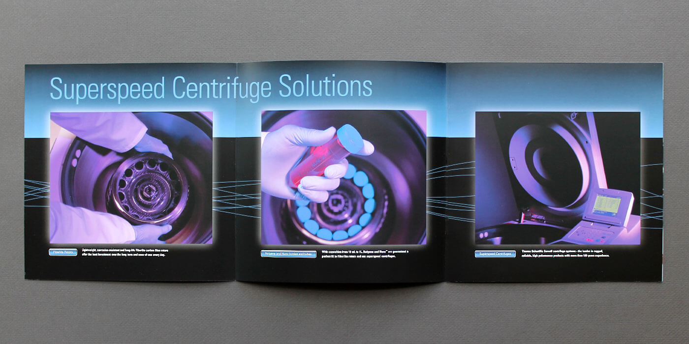 Unfolded Thermo Fisher Scientific brochure for SuperSpeed centrifuges. Images shot with lens gels to create a purple tint. Hands placing carrier into centrifuge.