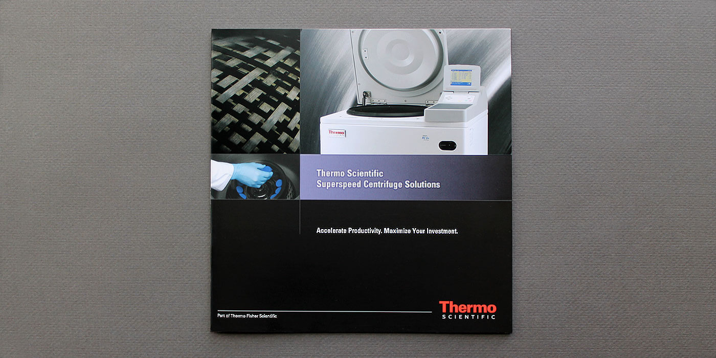 Thermo Fisher Scientific brochure cover for SuperSpeed centrifuges.