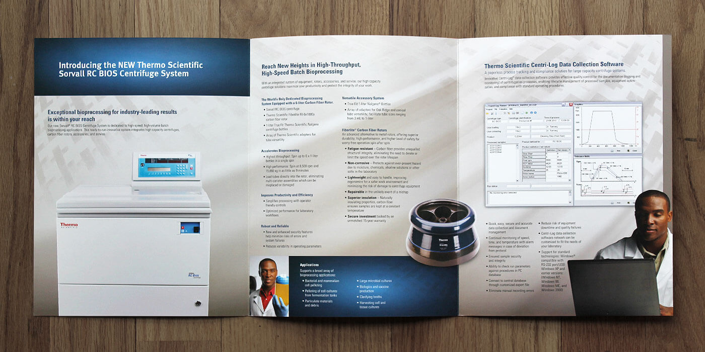 Unfolded Thermo Fisher Scientific brochure for Bios centrifuge system. Images show scientist viewing specimen in clear Nalgene bottle. Scientist on a computer.