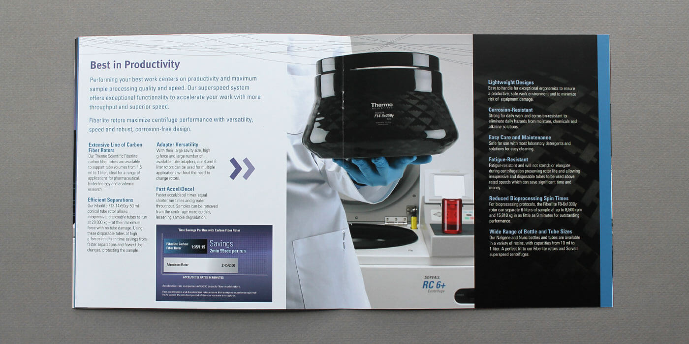Unfolded Thermo Fisher Scientific brochure for SuperSpeed centrifuges. Scientist with blue gloves holds Thermo Fisher Scientific FiberLite carbon fiber rotor for centrifuge.