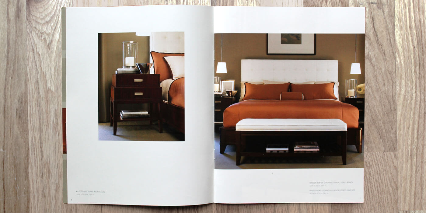 Lexington Furniture Zacara catalog spread showing a king sized bed with an upholstered headboard and copper bedspread.