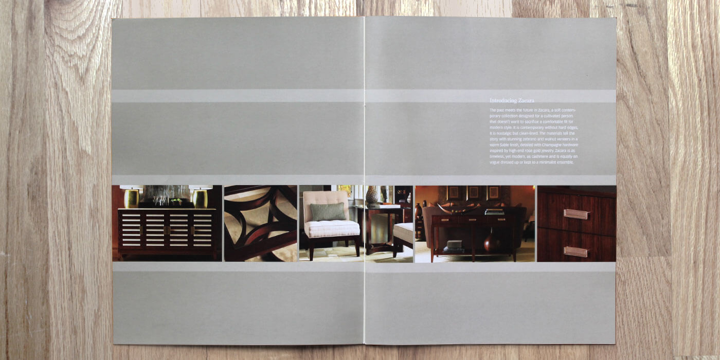 Lexington Furniture Zacara catalog intro spread showing a row of product images including chairs and consoles in a dark wood finish