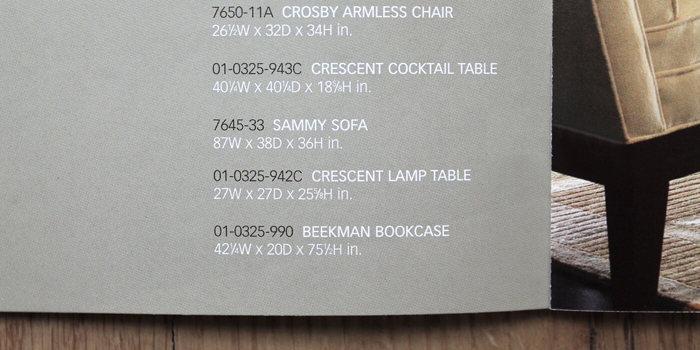 Lexington Furniture Zacara catalog detail showing sans serif text of product  details for sofa and tables