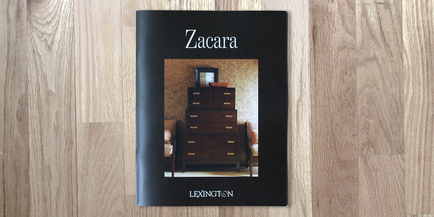 Lexington Furniture Zacara catalog cover showing a dark wood stain dresser