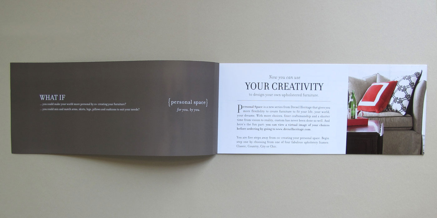 "Drexel Heritage Personal Space brochure spread showing custom sofa frame style and headline ""Your Creativity"""
