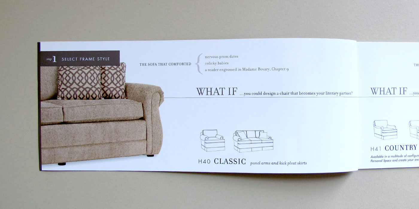 "Drexel Heritage brochure page showing custom sofa frame style, brown sofa, and headline ""What if..."""