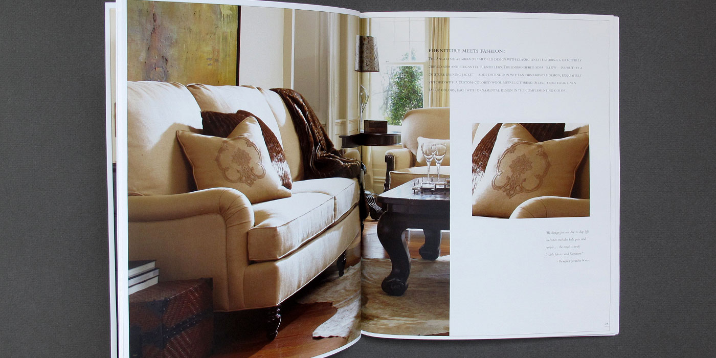 Drexel Heritage Postobello  Couture catalog spread with light brown sofa and large monogram