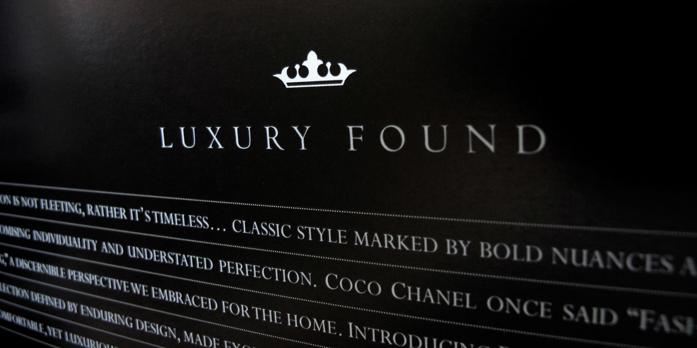 "Drexel Heritage Postobello  Couture catalog page detail of intro with crown graphic and ""luxury Found"" heading."