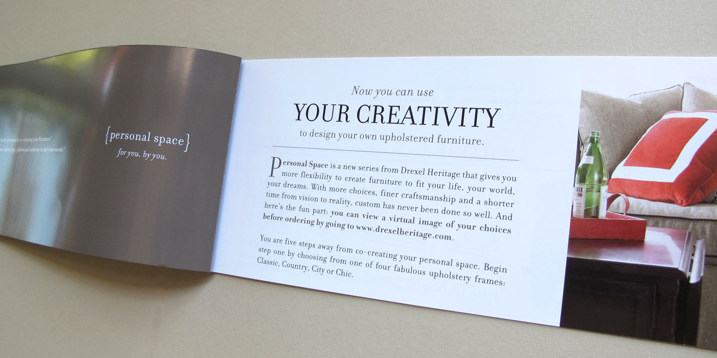 "Drexel Heritage Personal Space brochure spread detail showing custom sofa frame style and headline ""Your Creativity"""