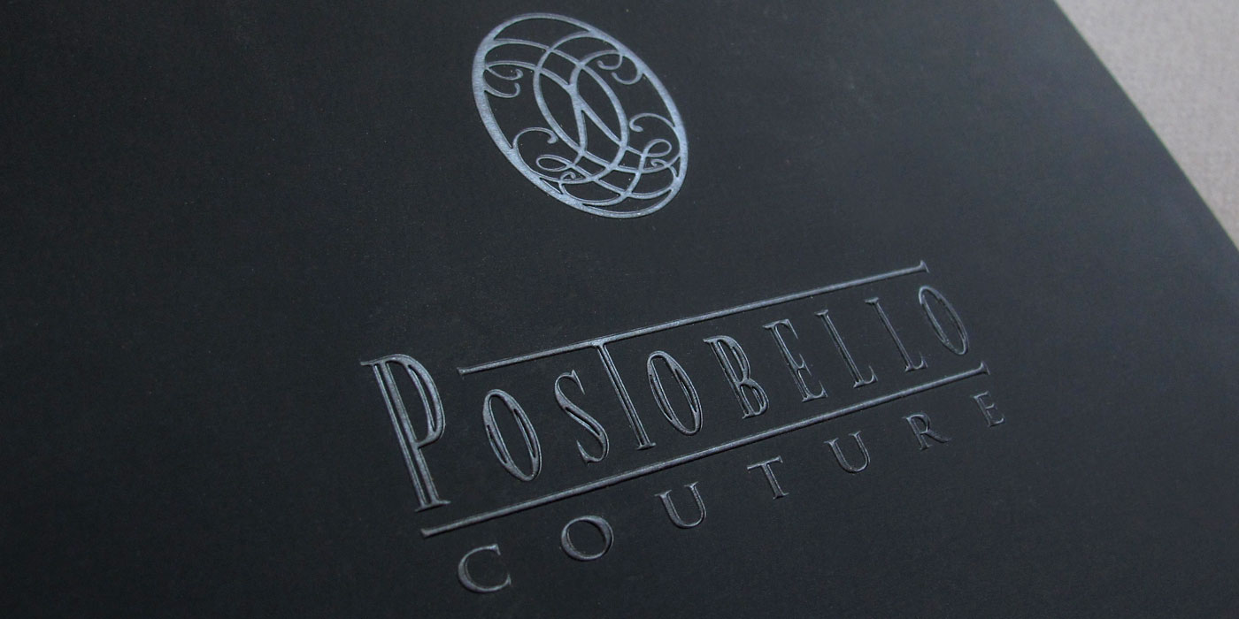 Drexel Heritage Postobello  Couture catalog cover detail of logo blind emboss deboss on black soft-touch paper