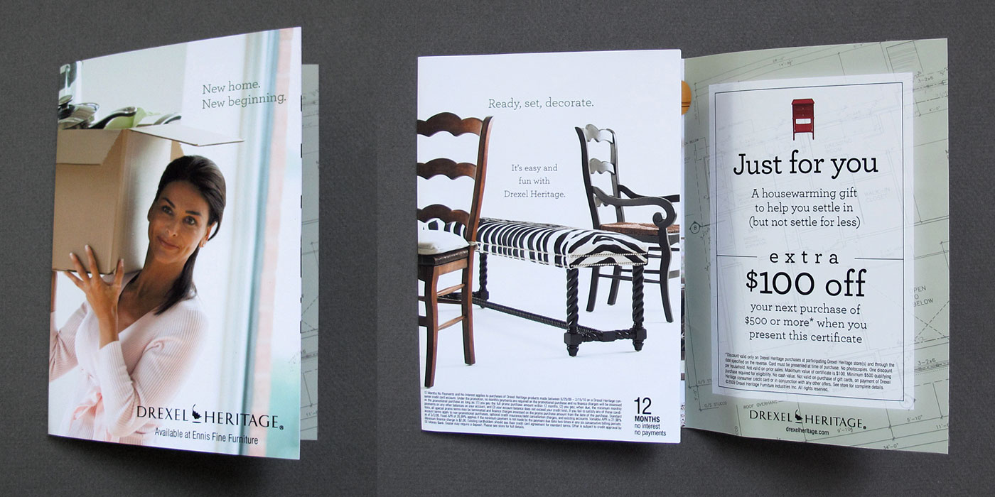Drexel Heritage direct mail piece for new home owner sale, half unfolded shows chair and bench with zebra pattern.