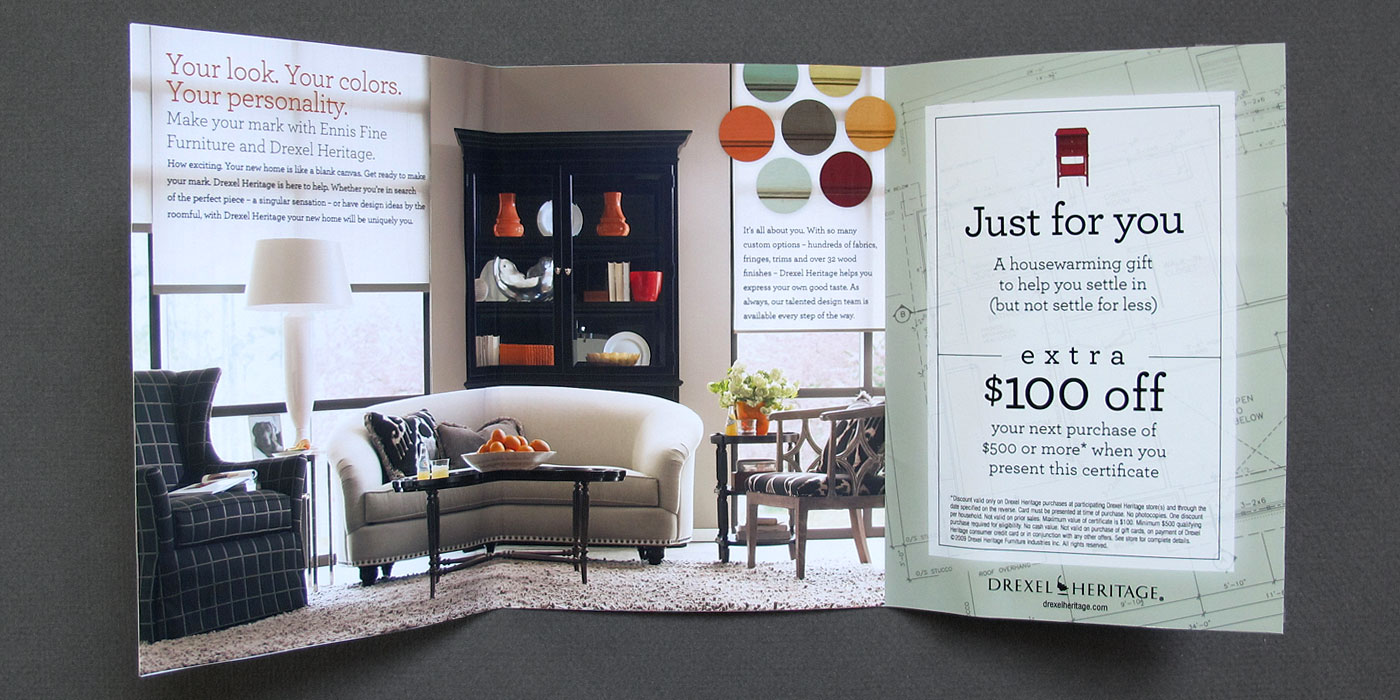 Drexel Heritage direct mail piece for new home owner sale, unfolded shows sofa and chair with $100 off coupon