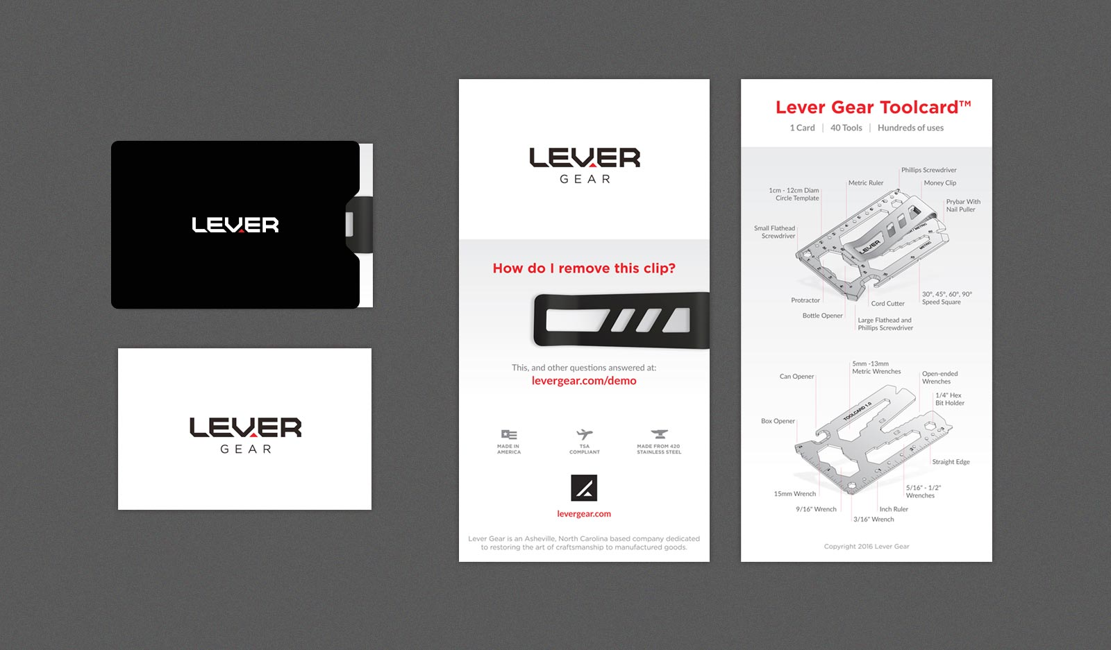 Lever Gear packaging sleeve/envelope shown with information brochure unfolded, showing technical specifications and features of Tool Card.