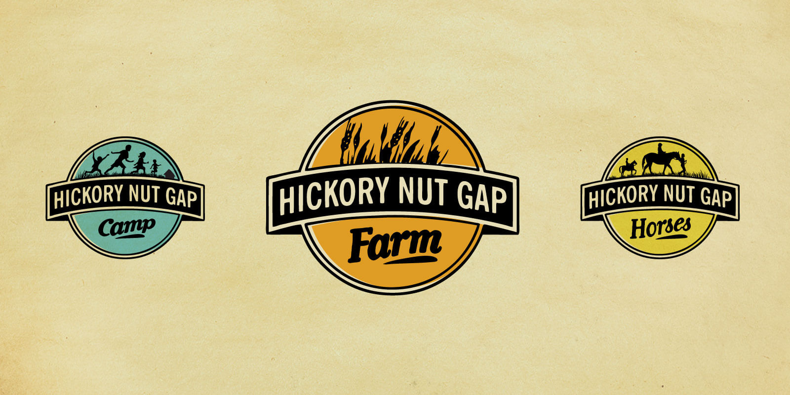 Hickory Nut Gap companion logos for farm (orange and black), camp (blue and black), and horse camp (gold and black). Shown against parchment paper background.