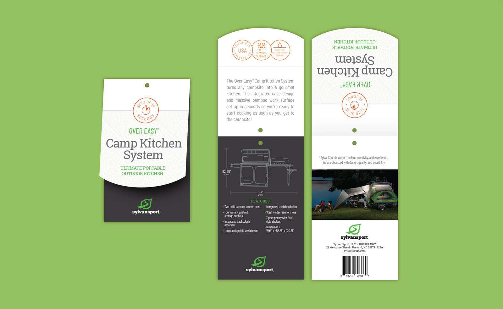 Sylvan Sport folded hangtag for Camp Kitchen with technical drawing. Shown against a green background.