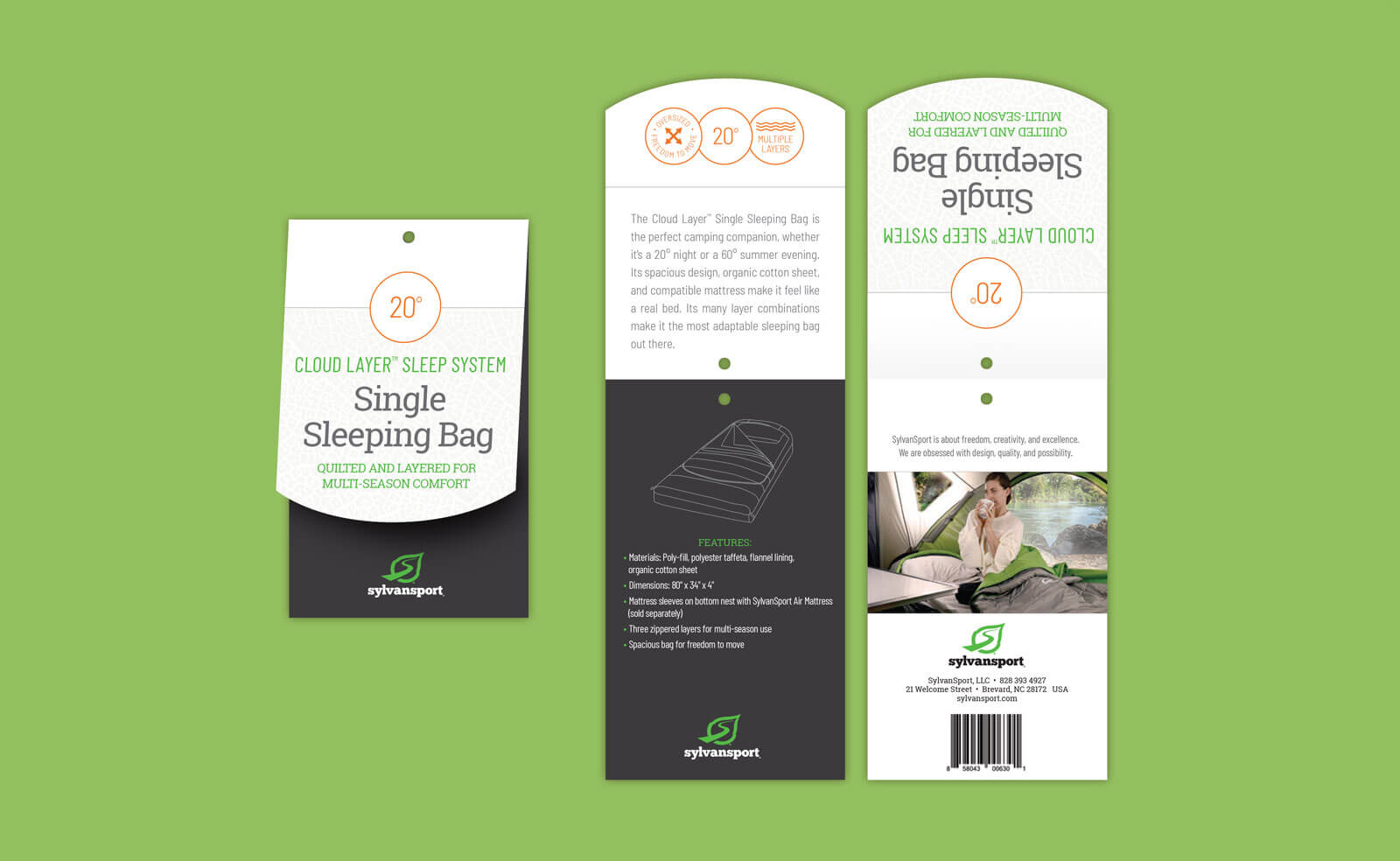 Sylvan Sport folded hangtag for Single Sleeping Bag with technical drawing. Shown against a green background.